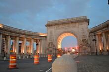 View Of Manhattan Bridge Entrance In Chinatown.