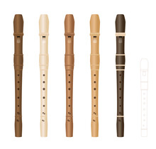 Alto Recorders, Different Wooden Textures And Colors, Realistic Three-dimensional Music Instruments, With Smaller Soprano Recorder By Comparison. Isolated Vector Illustration On White Background.