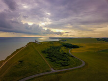 Beachy Head Lighthouse Scenic Aerial View Sunset
