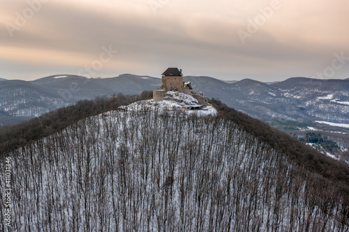 Photo Hungary - Castle of Regec (Regéc) in the Zemplen mountains from drone view