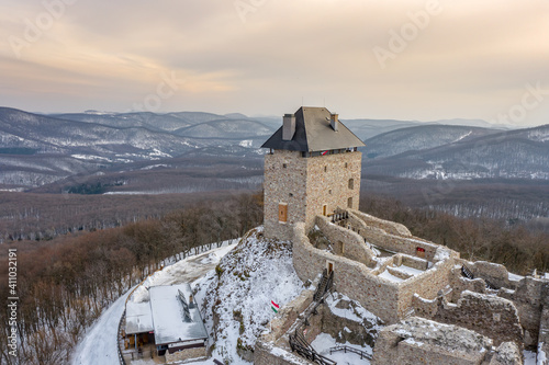 Canvas Print Hungary - Castle of Regec (Regéc) in the Zemplen mountains from drone view