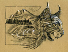 Portrait Of A Growling Cat. The Stylized Image Of A Mountain Landscape. Linear Black And White Drawing On Brown Paper.