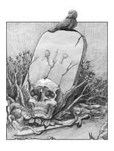 Gravestone With RIP Inscription. A Black Raven Sits On A Stone, A Skull And A Sword Lie Under The Stone. Black And White Illustration.