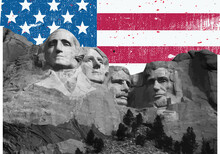 Mount Rushmore Vector Washington, Lincoln, Jefferson, Adams Monument Freedom President's Day 2021 American Flag