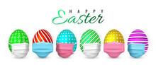 Happy Easter. Color Easter Egg In Medical Face Mask On White Background. Vector Illustration
