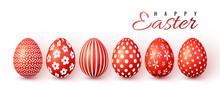 Happy Easter. Color Easter Eggs On White Background. Vector Illustration