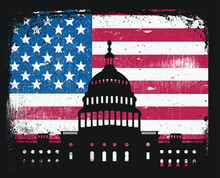 United States Capitol Building Silhouette Over Grunge American Flag Patriotic Symbol Freedom Rights Congress