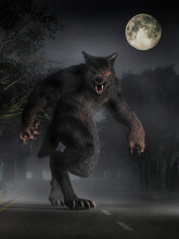 The Beast Of Bray Road, A Werewolf Looking Cryptid Of Wisconsin Folklore, Stands In The Moonlight On The Road Before You Glaring With A Menacing Look. 3D Rendering.