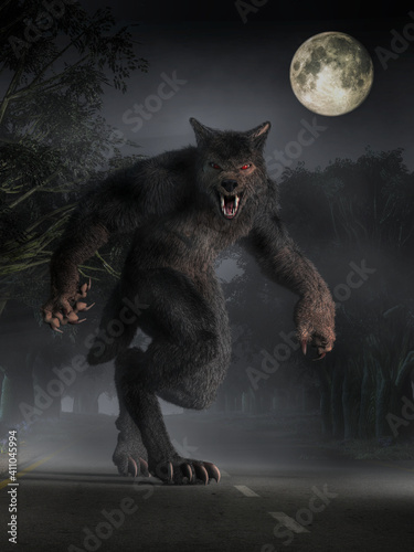 The Beast of Bray Road, a werewolf looking cryptid of Wisconsin folklore, stands in the moonlight on the road before you glaring with a menacing look Fototapeta