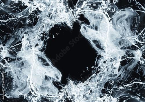 Fototapeta 青い煙と水が渦巻く抽象的な背景 obraz
