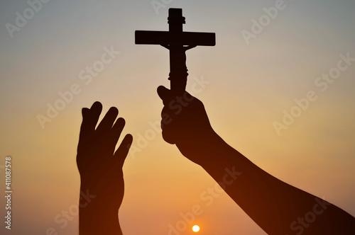 Fotografija Black shadow glorifies the cross of God.