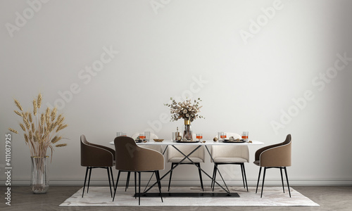 Interior design of white dining room with stylish modular wooden chairs, wooden tables, plants, neutral room divider, decoration and elegant accessories. Modern tropical home decor,3d render
