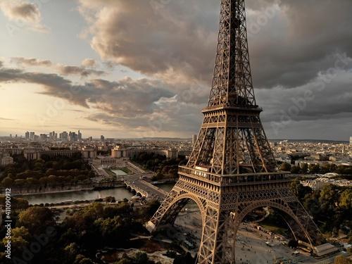 Fototapeta Eiffel Tower In City Against Sky During Sunset