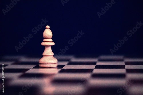 Tablou Canvas Close-up Of Bishop On Chess Board Against Black Background