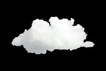 Large Single Cloud Isolated On Black Background With Clipping Path