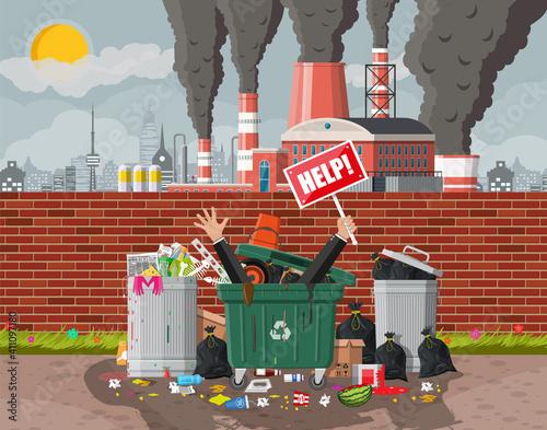 Fototapety, obrazy: Plant smoking pipes. Garbage bin full of trash