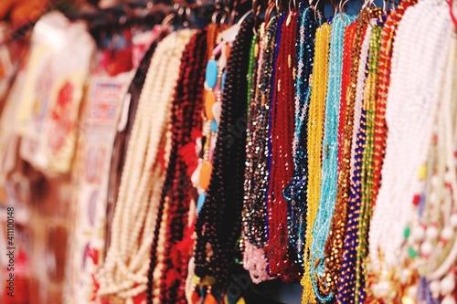 Fototapeta Full Frame Shot Of Colorful Pearl Necklaces For Sale At Market Stall obraz