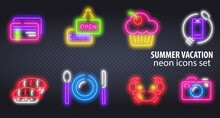 Neon Signs. The Symbols Of Different Food, Fish And Meat On A Dark Background. Neon Food And Drink Glowing Signboard