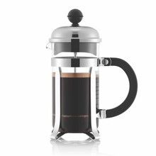 Double-Walled Clear Glass 8 Cup French Coffee Press Isolated On White Background. Full Coffee Plunger Or Maker Pot. Coffee Brewing Device. Press Pot With Stainless Steel Piston. Kitchen Utensils