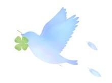 クローバーを運ぶ青い鳥のイラスト