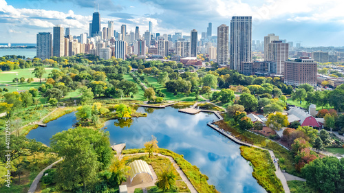 Fotografie, Obraz Chicago skyline aerial drone view from above, lake Michigan and city of Chicago