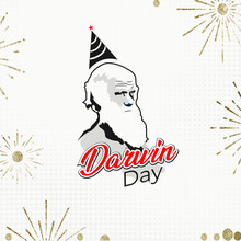 The Mount House, Shrewsbury, United Kingdom. Illustration Of Charles Darwin Portrait. International Darwin Day.