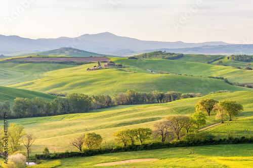 Fototapeta Rural idyll with rolling hills obraz