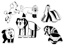 Set Of Illustrations Of Dogs