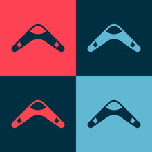 Pop Art Boomerang Icon Isolated On Color Background. Vector.