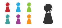 Black Chip For Board Game Icon Isolated On White Background. Set Icons Colorful. Vector.
