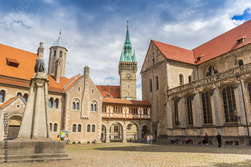 Dom church and tower of the town hall on the castle square of Braunschweig, Germ Fotobehang