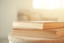Books On Table In Room, Closeup