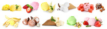 Set Of Different Ice-cream On White Background