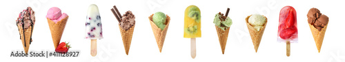 Obraz Set of different ice-cream on white background - fototapety do salonu