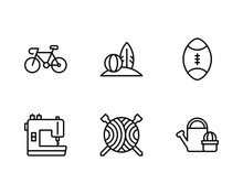 Hobby Icon Set With Bicycle, Surfboard, Volley Ball, Football, Sewing Machine, Knitting And Gardening Icon