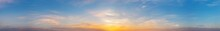 Dramatic Panorama Sky With Cloud On Sunrise And Sunset Time. Panoramic Image...