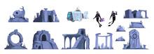 Lost Atlantis Isolated Icons Set