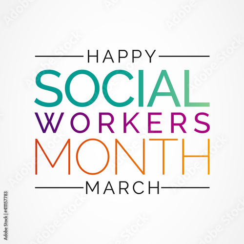 Obraz Social workers month occurs each year in March. it is a time to celebrate the great profession of social work. vector illustration. - fototapety do salonu