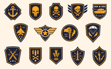 Military Stripes, Emblems. Logos Of Military Groups. Special Military Insignia, Aircraft, Tanks, Missiles, Infantry, Skulls
