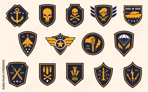 Obraz Military stripes, emblems. Logos of military groups. Special military insignia, aircraft, tanks, missiles, infantry, skulls - fototapety do salonu