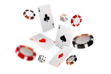 Playing Casino Card Chips And Dice Flying Background