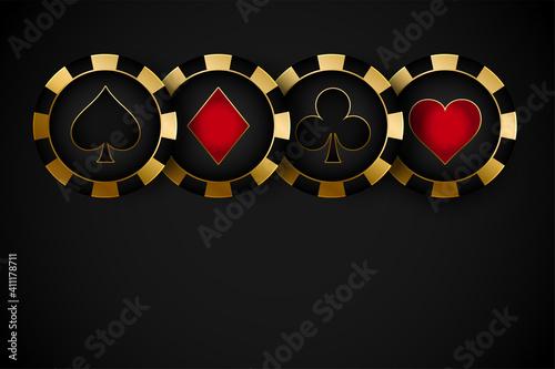 Fotografie, Obraz golden premium casino symbol chips