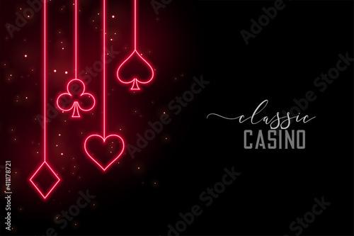 Stampa su Tela red neon casino symbols background