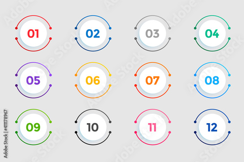 circular bullet points numbers from one to twelve Fotobehang
