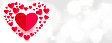 Beautiful Paper Hearts Style Love Banner Design