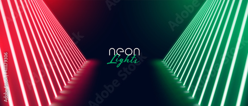 Slika na platnu red green neon stage path floor banner design