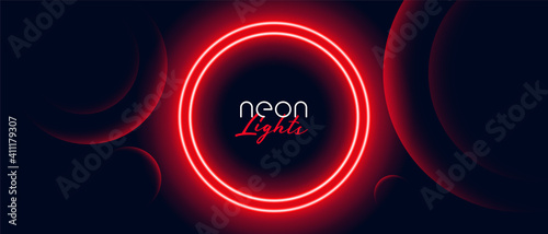 red neon circle light frame banner design