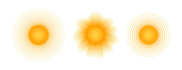 Solar radial pattern Orange abstract banner from lines Sun shape design element with a lines pattern rays Decorative sun icon solar symbol for creative design of summer spring theme Vector solar set