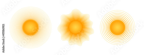 Obraz Solar radial pattern Orange abstract banner from lines Sun shape design element with a lines pattern rays Decorative sun icon solar symbol for creative design of summer spring theme Vector solar set - fototapety do salonu