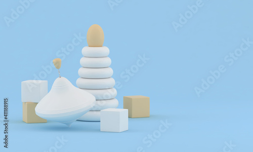 Blue background with children's toys. Children's toy whirligig, pyramid and cubes. Conceptual childish illustration. 3D render  #411188915